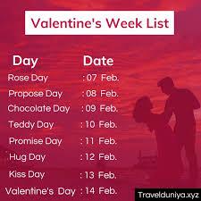 week list 2021 7th to 14th feb