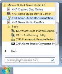 Рис. 2 После установки XNA Game Studio в меню Пуск ОС Windows появились новые пункты.