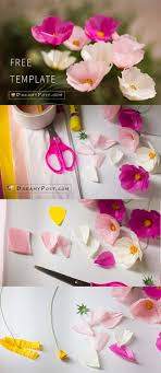 Tissue Paper Flower Instructions How To Make Paper Cosmos Flower From Tissue Paper Free Template