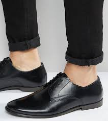 asos design asos wide fit derby shoes in leather black goxip
