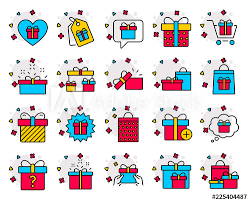 Gifts Line Icons Set Of Present Box Offer And Sale Signs Shopping