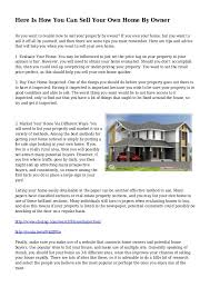 Here Is How You Can Sell Your Own Home By Owner