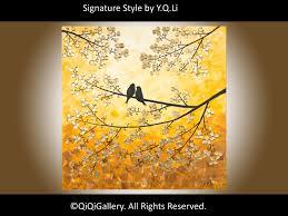 ORIGINAL Acrylic Painting Love birds Painting HEAVY Texture Impasto Palette  Knife Tree Love Birds Painting Wall Dcor