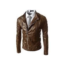 mens leather slim motorcycle biker jacket brown