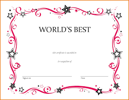 Printable Awards Templates Blank Award Certificate For Kids Para Sys