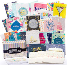 Card Bday Happy Birthday Cards Bulk Premium Assortment 40 Unique Designs Gold Embellishments Envelopes With Patterns The Ultimate Boxed Set Of Bday Cards