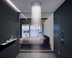 view in gallery water cascades from a large shower head