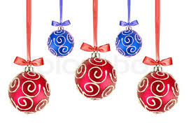 Red and Blue Christmas balls with bows on white background | Stock Photo |  Colourbox