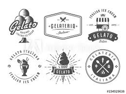 Italian Logos Set Of Gelato Badges Vector Italian Ice Cream Labels Retro