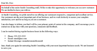 How To Write A New Customer Welcome Letter