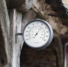 charcoal waterloo double sided outdoor clock thermometer by garden trading