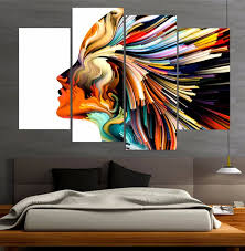 4 piece canvas prints wall painting art colors lines woman figure modular art picture print anime posters wall art home decor in painting calligraphy from  on 4 piece canvas wall art with 4 piece canvas prints wall painting art colors lines woman figure