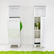 tall modern bathroom storage cabinet design with hamper drawer stainless steel handle and frosted glass door ideas