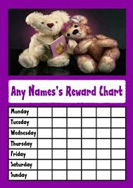 Amazon Com Purple Teddy Bears Star Sticker Reward Chart
