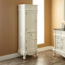 freestanding linen cabinet. Classic Design Of White Free Standing Linen Closet On Hardwood Floor Throughout Freestanding Cabinet