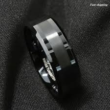 Tungsten Carbide Ring Size Chart Details About 8mm Atop Brushed Center Black Tungsten Carbide Ring Wedding Band Mens Jewelry