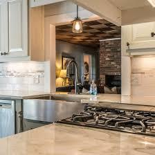 quartz kitchen countertop with range installed