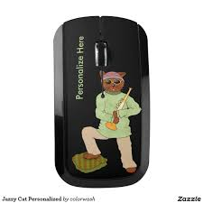 Wireless Mouse Cat Design Jazzy Cat Personalized Wireless Mouse Zazzle Com Music