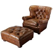 Brown Armchair Large Vintage Ralph Lauren Brown Leather Armchair With Matching