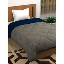 Buy Story Home Grey Navy Blue Solid Heavy Winter 210 Gsm