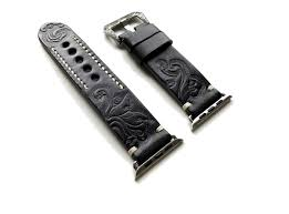 black with gray tooled embossed genuine luxury leather band strap bracelet with engraved buckle for iwatch