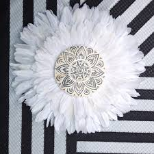 tribal mandala white and grey double layer feathers round wall art