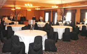 wedding set up round tables martin campbell room