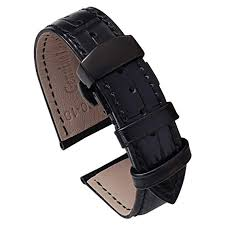 pbcode 22mm watch band black leather watch straps replacement watch bands for men women black deployment