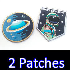 2 x space explorer quality patch iron on nasa applique embroidered sew craft diy
