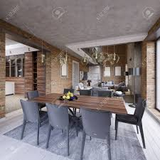 Modern Dining Room With Dining Table And Eight Chairs In A Loft