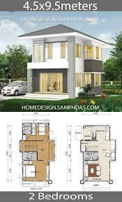 Small House Plans 4.5x9.5m with 2 bedrooms - Home Ideassearch | Beautiful  house plans, Small house plans, House plans
