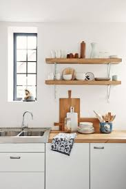 kitchen shelf. wall mounted modern varnished pine wood kitchen shelves with white iron cantilever attractive shelf