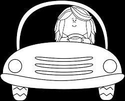 car driving clipart black and white. Modren Driving Black And White Girl Driving A Car Clip Art  To Clipart And R