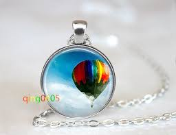 details about up hot air balloon glass dome tibet silver chain pendant necklace whole