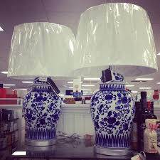 blue and white lamps. Inspiring Home Goods Lamp Shades Made Of Ceramic Material And A Blue Flower Patterned Canvas White Lamps