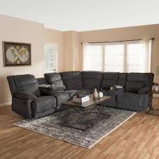 sabella 7 piece dark grey fabric reclining sectional