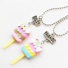 images gallery sunshine 2pcs children best friends rainbow popsicle pendants chain necklace