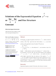 pdf solutions of the exponential equation y sup x y sup x or ln x x ln y y and fine structure constant