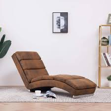 vidaXL <b>Chaise Longue Brown Faux</b> Suede Leather– House of ...