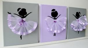 Lavender Nursery Dancing Ballerinas Wall Decor Nursery Wall Art In Lavender