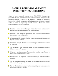 Behavioural Based Interviewing Sample Behavioral Event Interviewing Questions