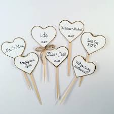 Rustic Heart Cupcake Toppers For Weddings And Bridal Showers
