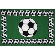 3 x 5 small soccer time green black and white area rug fun time