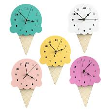 New Home Cartoon Images Ice Cream Silent Clock Cartoon New Home Decor Wall Decoration Watch For Home Decor Childrens Room Cartoon Ornaments Wall Clock Black Wall Clock Blue