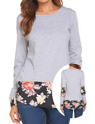 Light Grey Womens Tops Womens Casual Floral Splice Long Sleeve Flowy Loose T Shirt