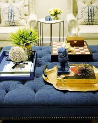 Ottoman Coffee Tables Living Room Family Room Decor Tufted Navy Ottoman Coffee Table Styling