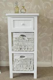 white storage unit wicker: white one drawer two basket storage cabinet mm a
