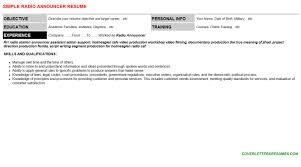 Announcer Sample Resumes Inspiration Radio Announcer Resume Cover Letter CV Letters Resumes Templates