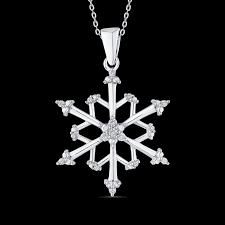 essentials pe1279 09v sterling silver round white diamond snowflake pendant