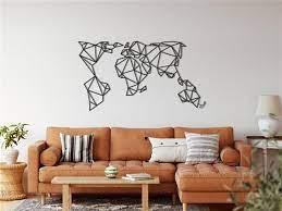 geometric metal world map metal wall